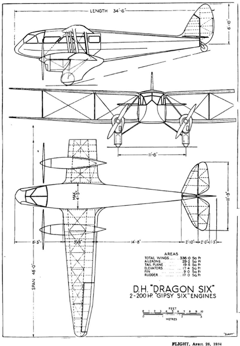 dh 89 flight drawing
