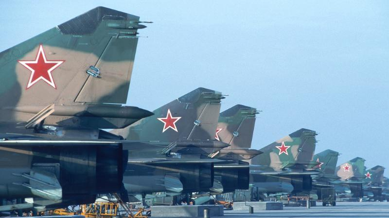 Overview of variations on a row of MIG-23 fighters